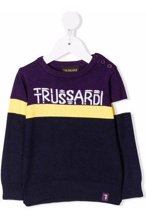 Trussardi Sweaters - Intarsia-knit buttoned logo jumper
