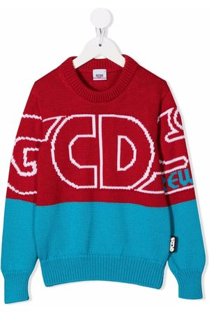GCDS Boys Sweaters - Two-tone logo-print jumper