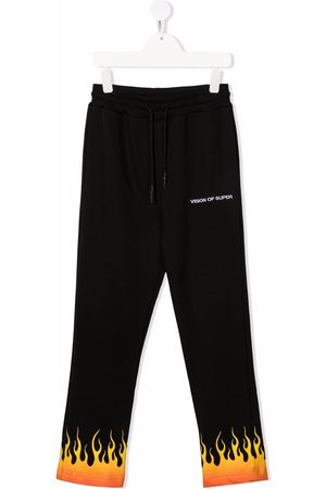 Vision Of Super Boys Sweatpants - Flame-print straight joggers