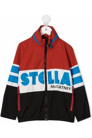 Stella McCartney Boys Bomber Jackets - Colour-blocked logo print jacket
