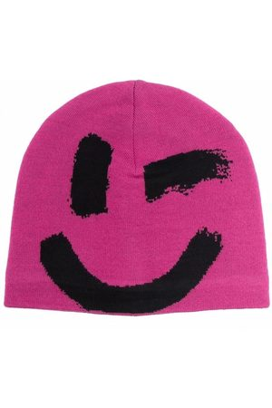 Molo Girls Beanies - Smiley-face knitted beanie