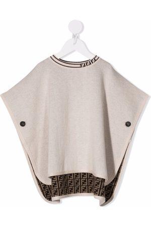 Fendi Kids Monogram cotton-cashmere poncho - Neutrals
