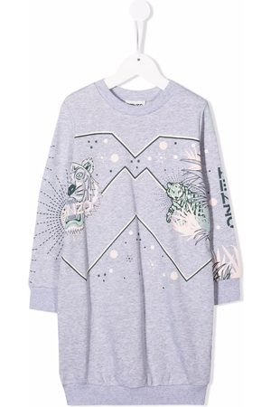 Kenzo Kids Tiger-print logo dress - Grey