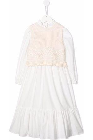 Ermanno Scervino Junior Cotton-wool panelled dress