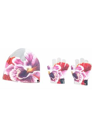 Molo Girls Hats - Floral-print hat and glove set