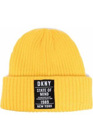 Dkny Kids Girls Beanies - Ribbed-knit logo beanie