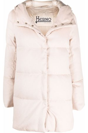 Herno Hooded high-neck coat - Neutrals