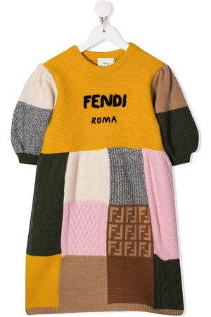 Fendi Kids Knitted patchwork dress