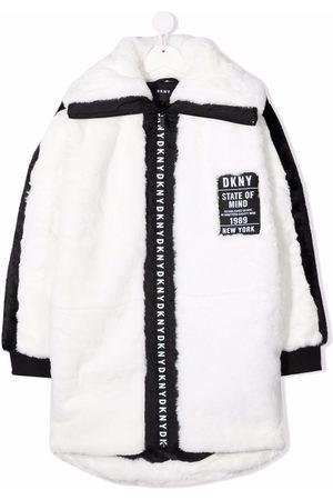 Dkny Kids TEEN logo-patch faux-fur coat