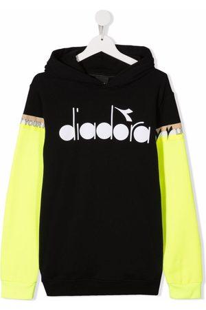 Diadora TEEN logo-print colour-block hoodie