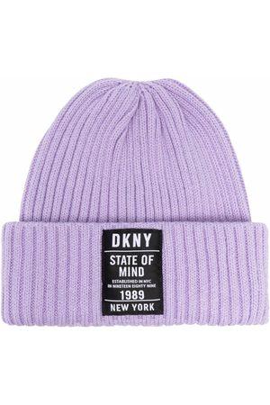 DKNY Ribbed-knit logo beanie