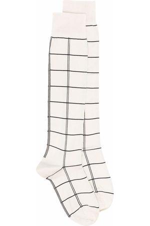 Jil Sander Check-print calf socks - Neutrals