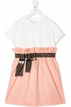 Fendi Logo-tape detail short-sleeve dress