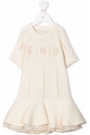 Fendi Baby Knitted Dresses - Embroidered-logo flared knit dress