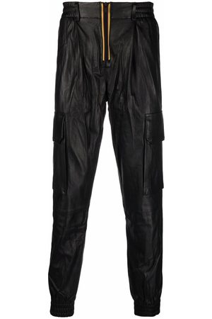 K-WAY R&D Drawstring waist leather trousers