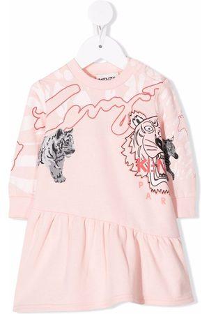 Kenzo Tiger-print asymmetric-hem dress