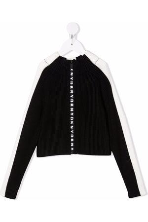 DKNY Ribbed-knit logo zip-up jumper