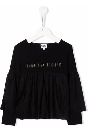 Karl Lagerfeld Girls Long Sleeve - Ruffle-detail long-sleeve T-shirt