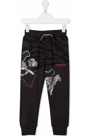Kenzo Boys Sweatpants - Animal-print track pants - Grey
