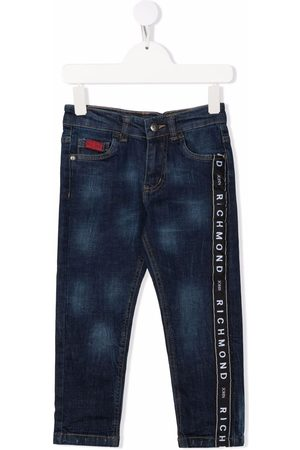 John Richmond Junior Logo stripe slim fit jeans
