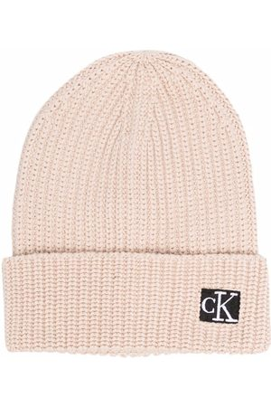 Calvin Klein Boys Beanies - Logo-patch organic cotton beanie - Neutrals
