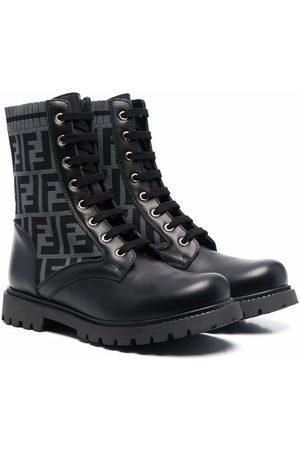 Fendi Kids TEEN FF motif lace-up boots