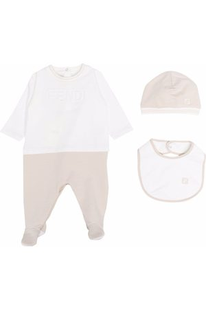 Fendi Babygrow, hat and bib set - Neutrals