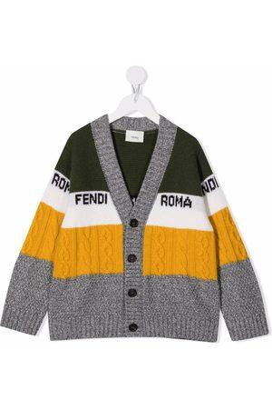 Fendi Kids Colour-block button cardigan - Grey