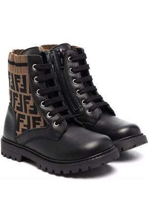 Fendi Kids FF motif lace-up boots