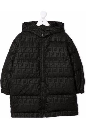 Fendi Kids Boys Puffer Jackets - FF-print hooded coat