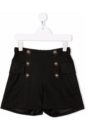 Balmain Kids Girls Shorts - Embossed-button shorts