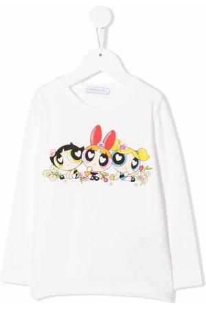 Monnalisa Graphic-print long-sleeved T-shirt - Neutrals