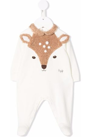 Il Gufo Embroidered long-sleeved romper - Neutrals