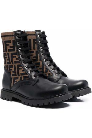 Fendi Kids TEEN FF-printed combat boots