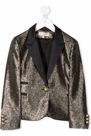 ELIE SAAB JUNIOR Contrast-lapel metallic blazer