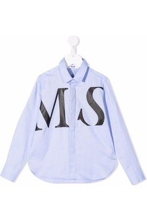 MSGM Kids Logo-print cotton shirt