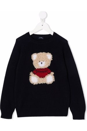 Il Gufo Bear-embroidered sweater