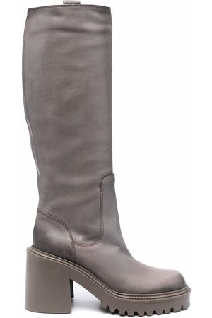 Vic Matie Knee-high leather boots - Grey