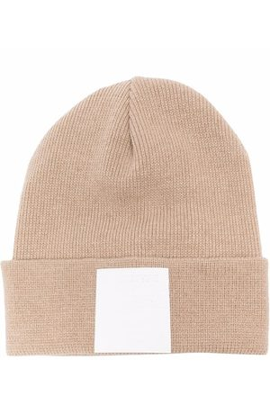 Paolo Pecora Kids Ribbed-knit logo-patch beanie - Neutrals
