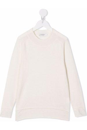 Paolo Pecora Kids Ribbed-trim long-sleeved sweatshirt - Neutrals