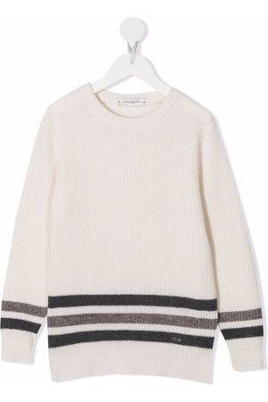 Paolo Pecora Kids Stripe-print merino jumper - Neutrals