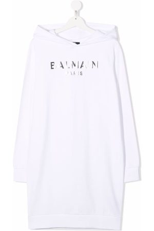 Balmain Kids TEEN logo-print metallic sweater dress
