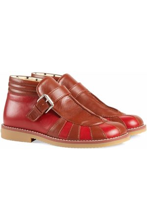 Gucci Kids Two-tone leather buckled boots