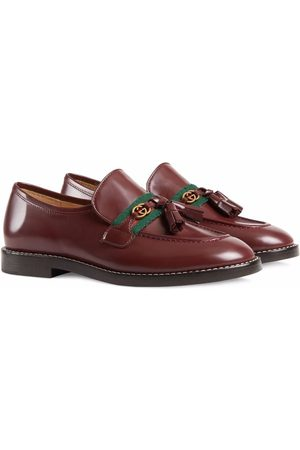 Gucci Kids Web-trim leather loafers
