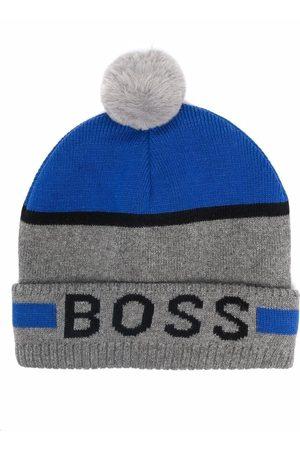 BOSS Kidswear Logo-print knitted beanie - Grey