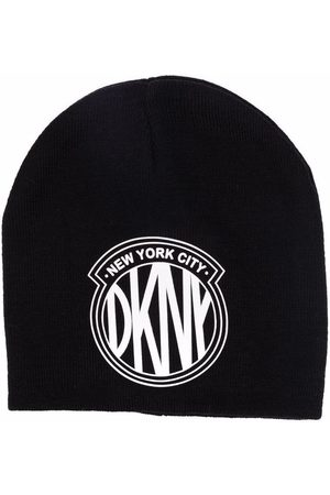DKNY Girls Hats - Logo-patch knitted hat