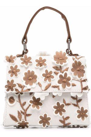 Mimisol Girls Bags - Floral appliqué tote bag - Neutrals