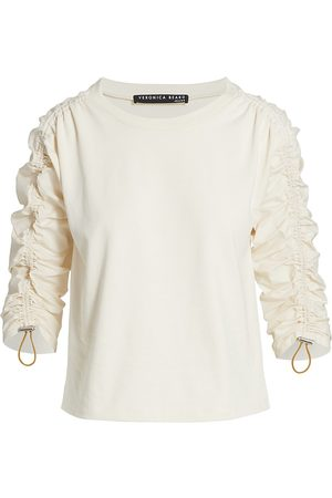 Veronica Beard Dudley Ruched-Sleeve Top