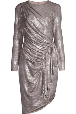 Aidan Mattox Women Asymmetrical Dresses - Metallic Draped Asymmetric Dress