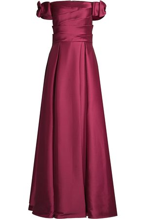 Aidan Mattox Women Strapless Dresses - Pleated Off-The-Shoulder Gown